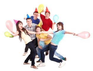 Group of people in party hat.