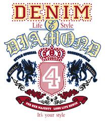 Vintage Denim Emblema Brasão