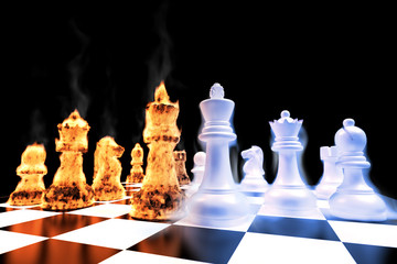 Fire and Ice battle on a chess board