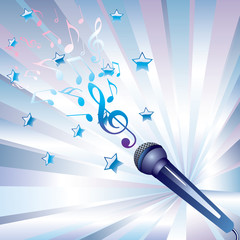 microphone and musical notes.