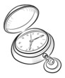 old open retro clock vector illustration