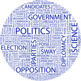 POLITICS. Word collage on white background. poster