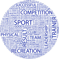 SPORT. Collage with association terms on white background.
