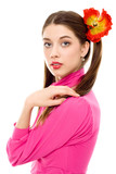 young woman with pigtails in pink dress isolated poster