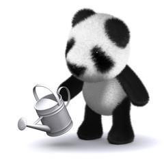 3d Teddy panda waters the garden