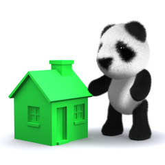 3d Teddy and green house