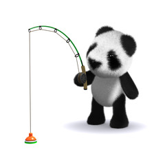 3d Panda teddy fishing