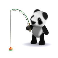 3d Panda teddy fishing