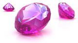 Ruby gemstones on white surface. 3D render. poster