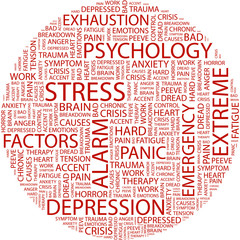 STRESS. Word collage on white background.