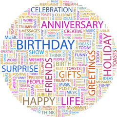 Word cloud concept illustration of birthday association terms.