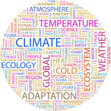 Word cloud concept illustration of climate association terms. poster