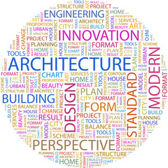 Word cloud concept illustration of architecture terms.