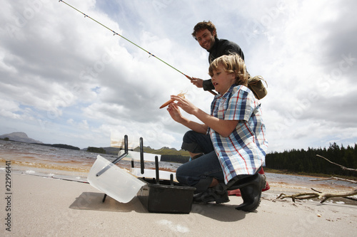 Boy and his father fishing