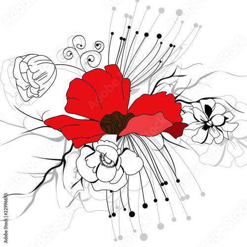 Decorative background with red flower © Regina Jersova