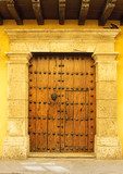 Doors of colonial building in Cartagena, Colombia poster