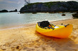 Sea kayak on the shore with scenic background