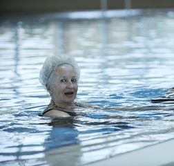 elderly at swimming pool