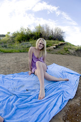 Sitting on blanket purple