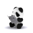 3d Baby panda reads the paper