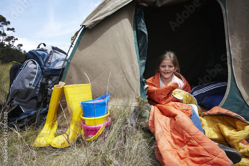 Cute girl in a tent