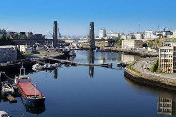 ville de Brest et le pont de Recouvrance,bretagne