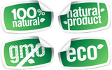 Set of ecology product stickers, GMO free. poster