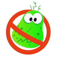 Stop virus - green virus in red alert sign. VECTOR