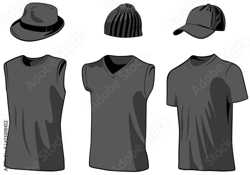 Shirts and caps. Vector