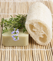 Natural lufah sponge wlth thyme aromatic soap