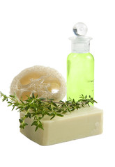 Luffa sponge, thyme soap and green shampoo, isolated