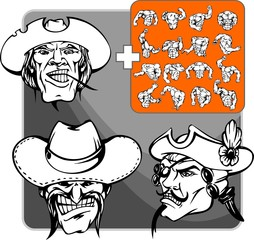 The man in a black hat. Mascot template.