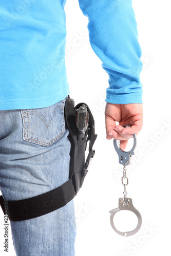 Cop with Pistol and handcuffs