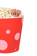 Detail of tickets and popcorn