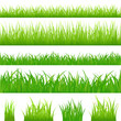 4 backgrounds of green grass and 4 tufts of grass