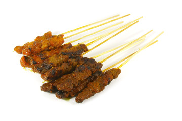 Grilled Meats Skewered on Bamboo Sticks
