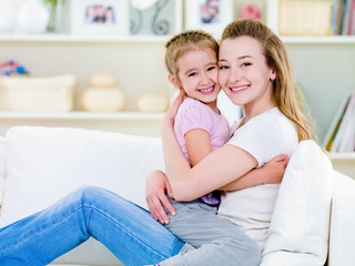 Happiness of mother with daughter
