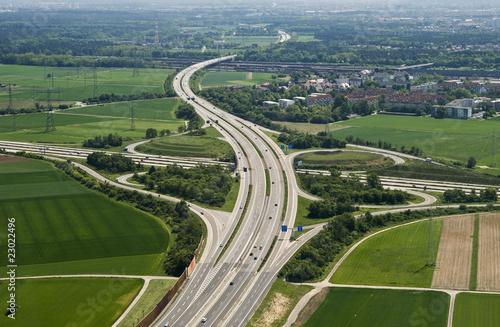 Leinwanddruck Bild Autobahnkreuz