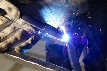 closeup of welder