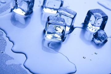 Blue background, ice cube