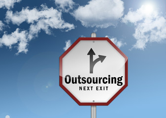 """Road Sign """"Outsourcing - Next Exit"""""""