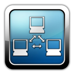 "Glossy Square Icon ""Computer Network"""