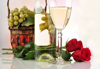 white wine with grape and flowers