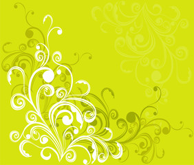 Summer background with floral ornament, vector