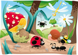 Insects family on the ground Funny cartoon and vector scene