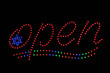 Open Neon Sign with Star