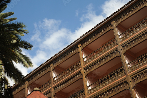 Wooden balconies in Las Palmas de Gran Canaria Spain