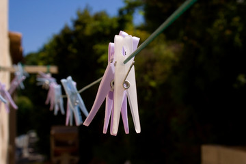 Pegs on a washing line
