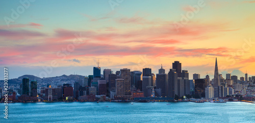 Plakát, Obraz San Francisco Skyline at Sunset HDRI