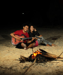 camp fire at beach recreation